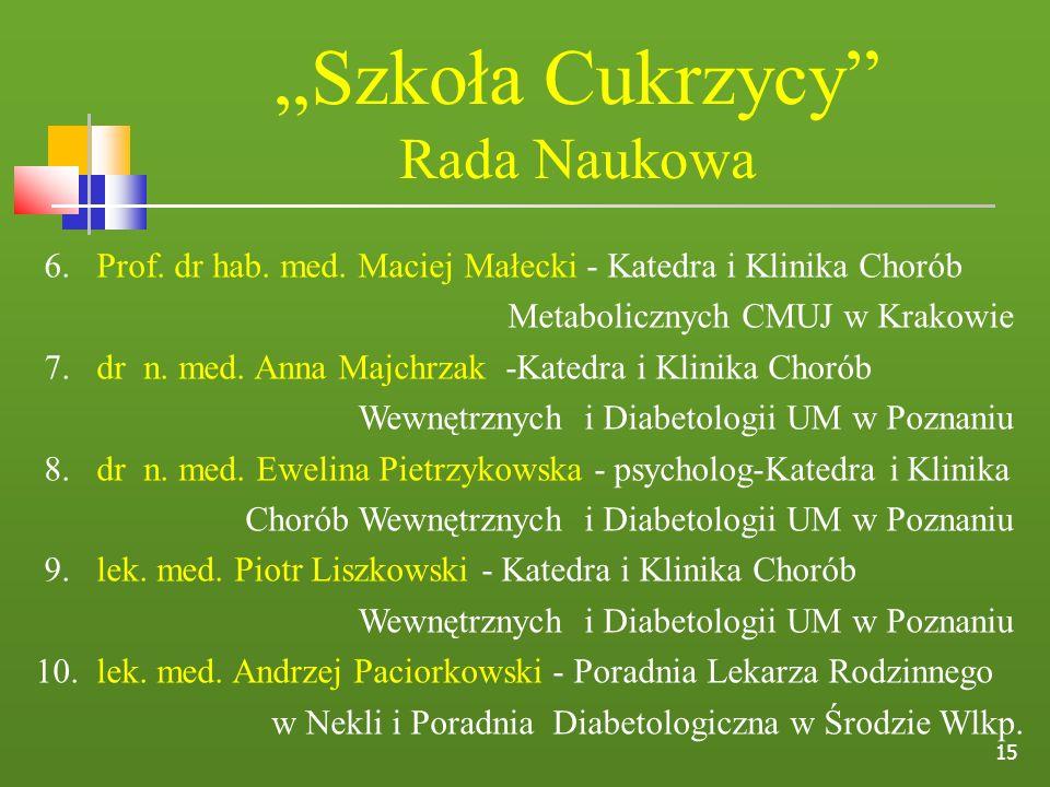 """""""Szkoła Cukrzycy Rada Naukowa"""