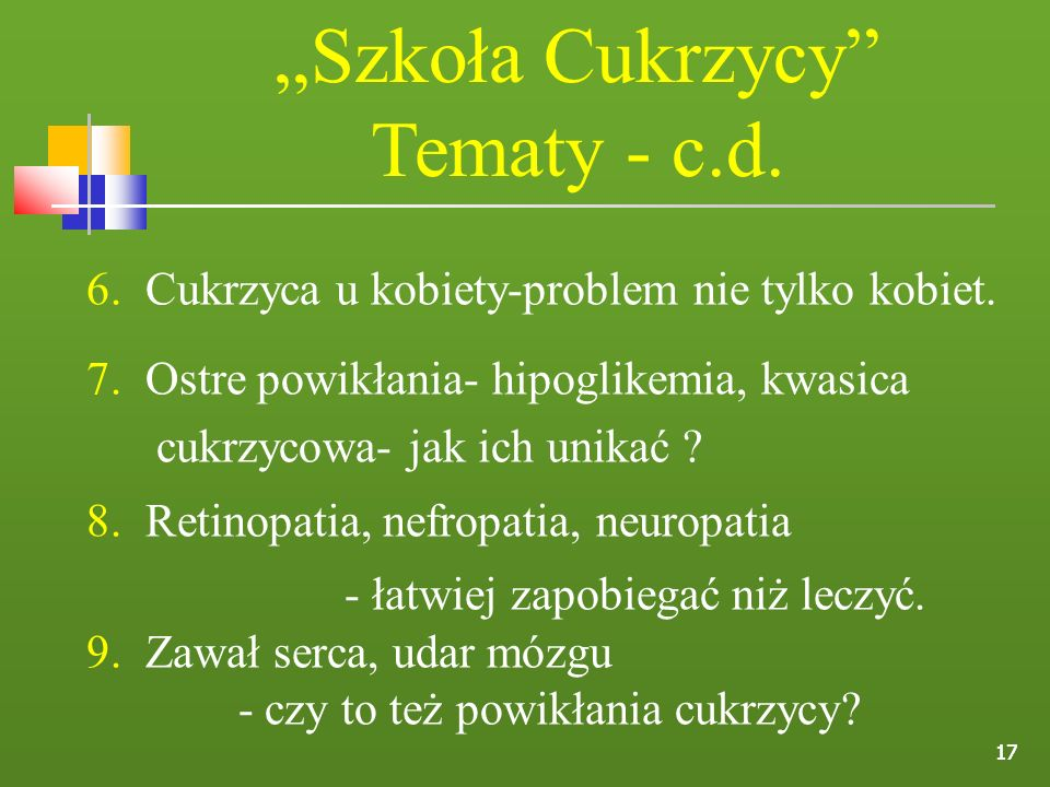 """""""Szkoła Cukrzycy Tematy - c.d."""