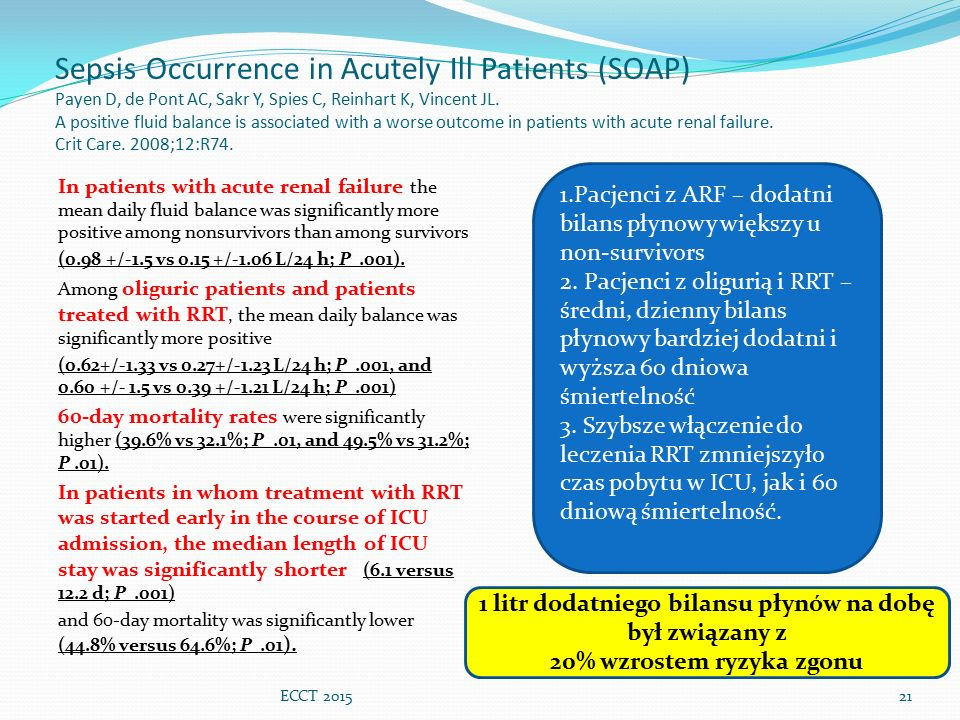 Sepsis Occurrence in Acutely Ill Patients (SOAP) Payen D, de Pont AC, Sakr Y, Spies C, Reinhart K, Vincent JL. A positive fluid balance is associated with a worse outcome in patients with acute renal failure. Crit Care. 2008;12:R74.
