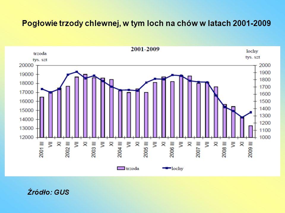 Pogłowie trzody chlewnej, w tym loch na chów w latach 2001-2009