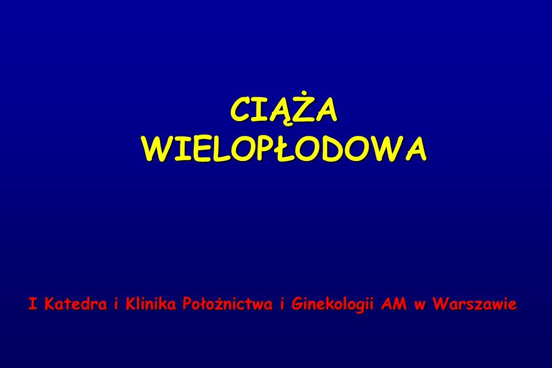 CIĄŻA WIELOPŁODOWA I Katedra i Klinika Położnictwa i Ginekologii AM w Warszawie