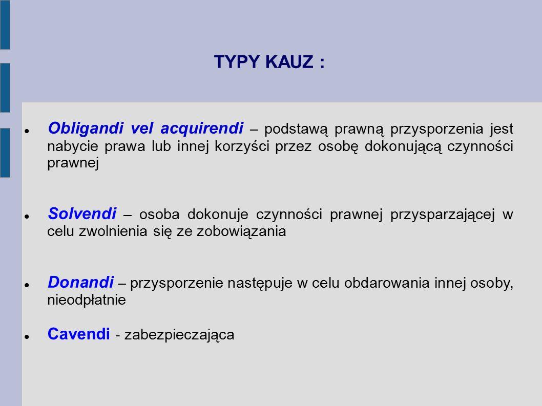 TYPY KAUZ : Obligandi vel acquirendi – podstawą prawną przysporzenia jest nabycie prawa lub innej korzyści przez osobę dokonującą czynności prawnej.