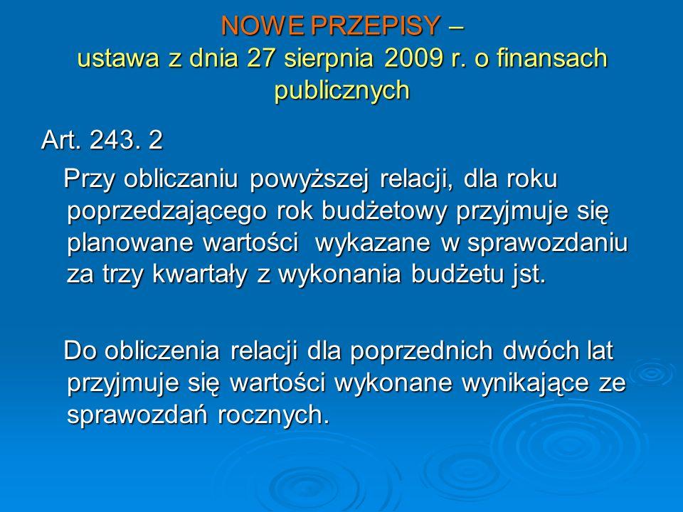 NOWE PRZEPISY – ustawa z dnia 27 sierpnia 2009 r