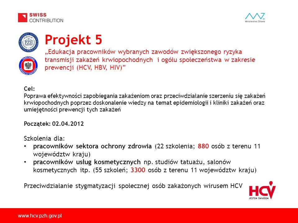 """Projekt 5 """"Edukacja pracowników wybranych zawodów zwiększonego ryzyka transmisji zakażeń krwiopochodnych i ogółu społeczeństwa w zakresie prewencji (HCV, HBV, HIV)"""