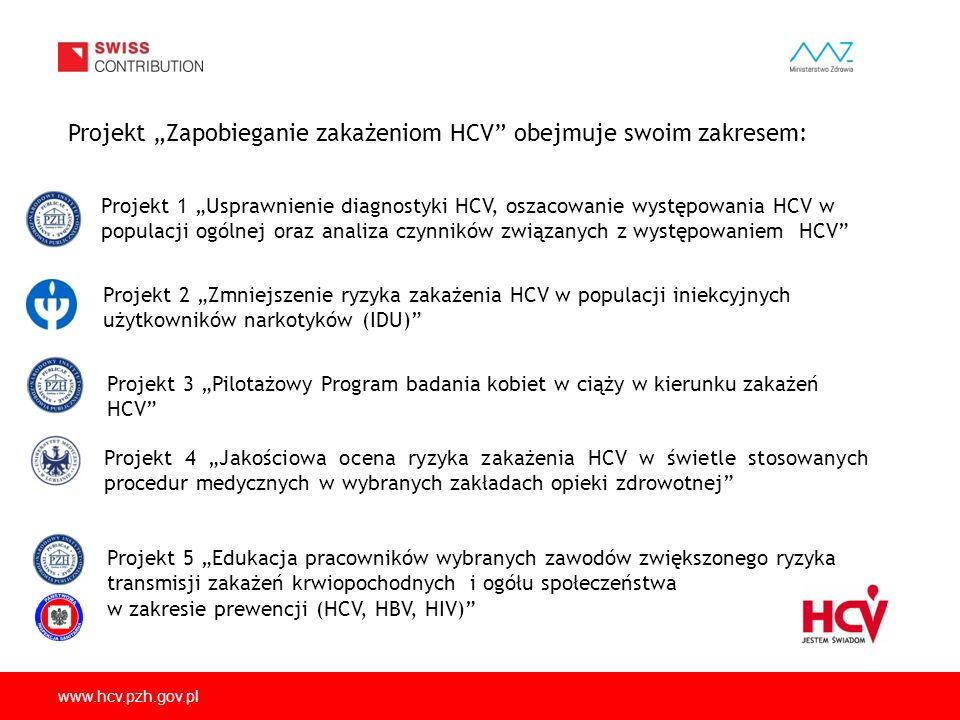 """Projekt """"Zapobieganie zakażeniom HCV obejmuje swoim zakresem:"""