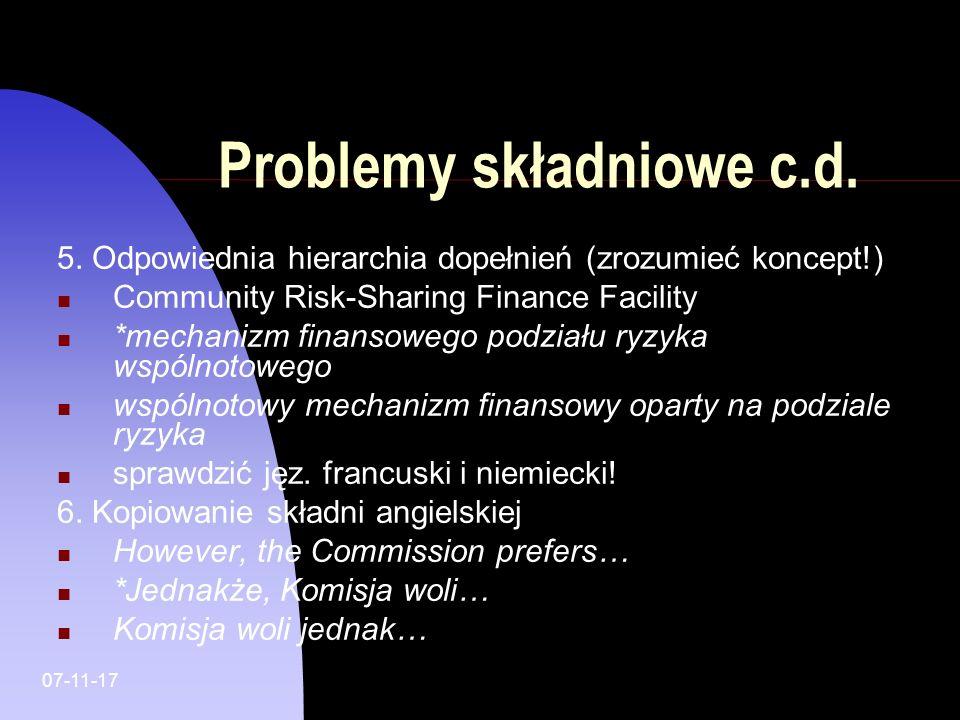 Problemy składniowe c.d.