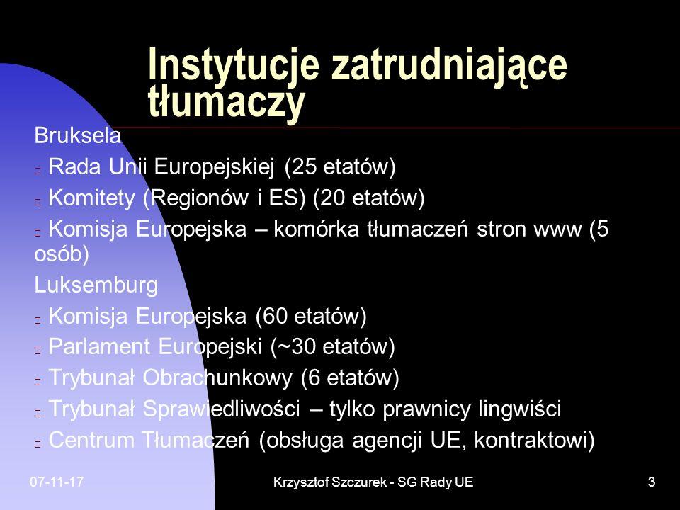 Instytucje zatrudniające tłumaczy