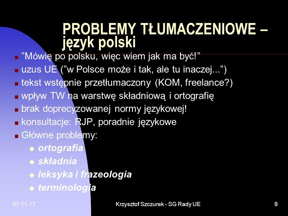 PROBLEMY TŁUMACZENIOWE – język polski