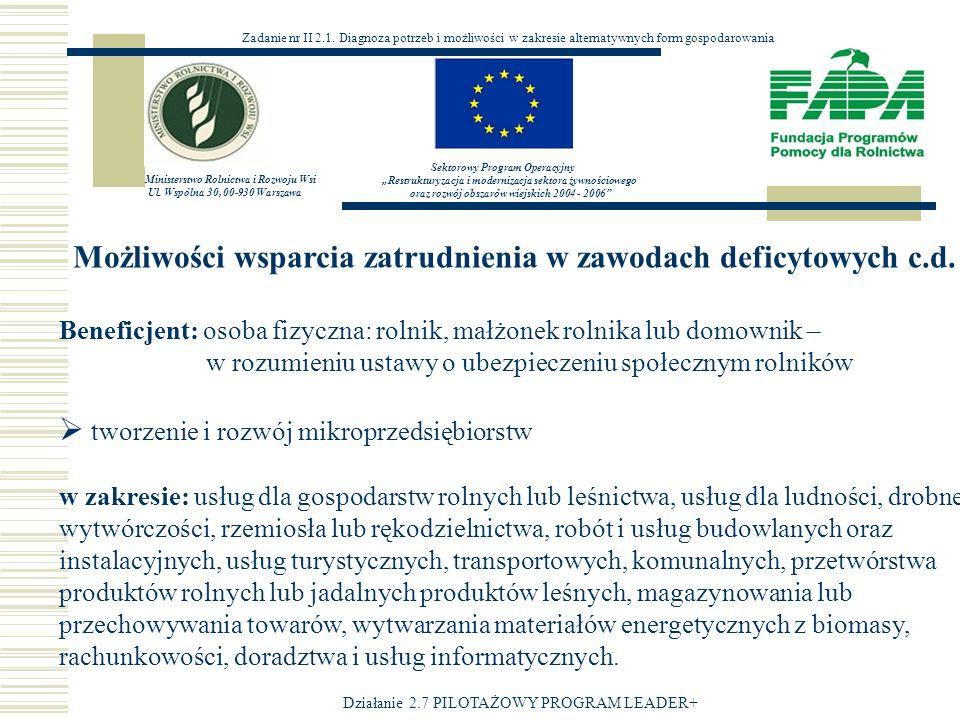 Możliwości wsparcia zatrudnienia w zawodach deficytowych c.d.