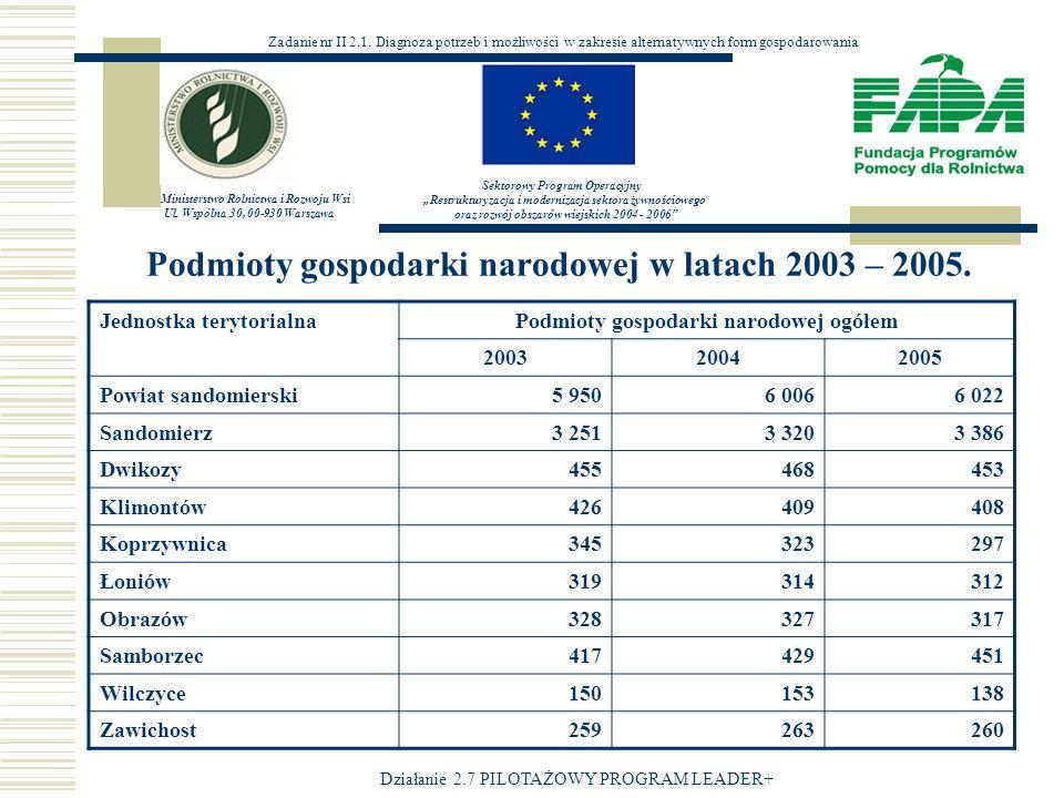 Podmioty gospodarki narodowej w latach 2003 – 2005.