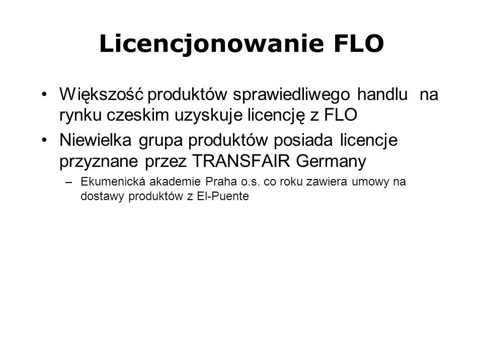 Licencjonowanie FLO Większość produktów sprawiedliwego handlu na rynku czeskim uzyskuje licencję z FLO.