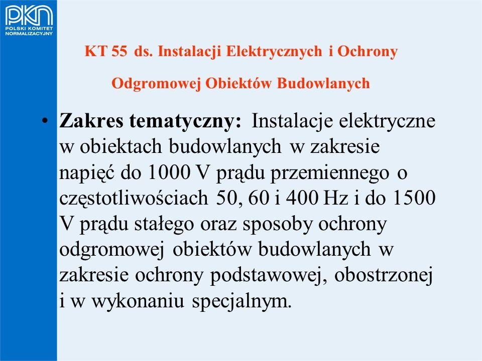 KT 55 ds. Instalacji Elektrycznych i Ochrony Odgromowej Obiektów Budowlanych