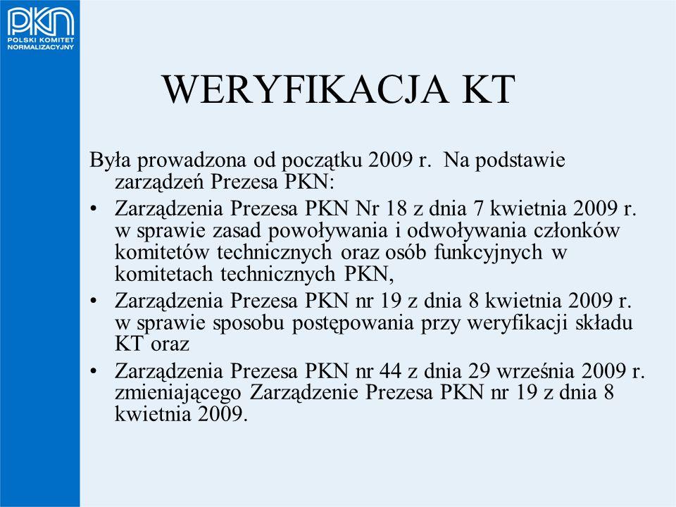 WERYFIKACJA KT Była prowadzona od początku 2009 r. Na podstawie zarządzeń Prezesa PKN: