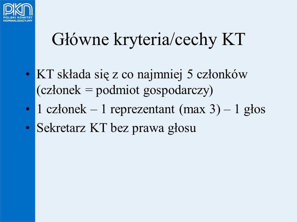 Główne kryteria/cechy KT