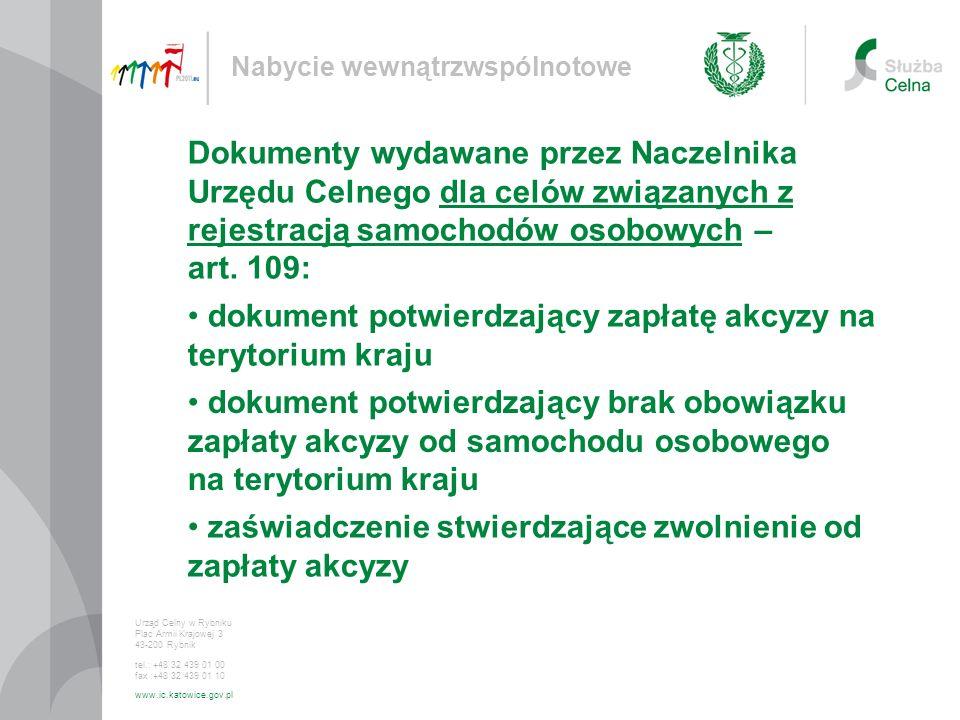 dokument potwierdzający zapłatę akcyzy na terytorium kraju
