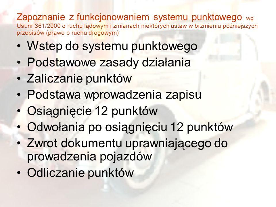 Wstep do systemu punktowego Podstawowe zasady działania