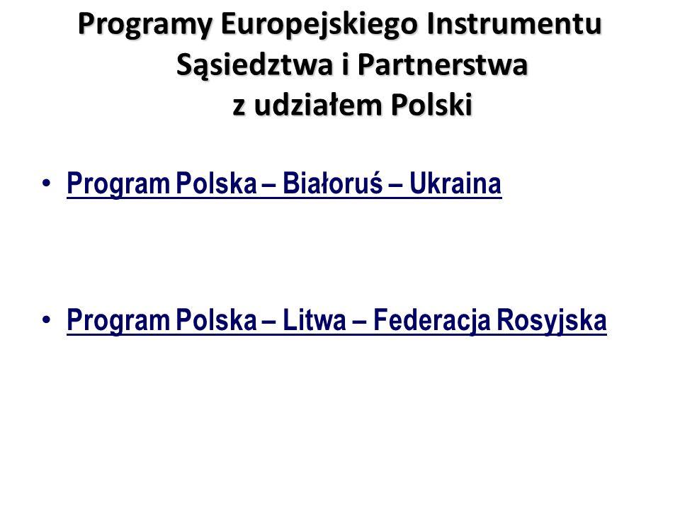 Programy Europejskiego Instrumentu Sąsiedztwa i Partnerstwa z udziałem Polski