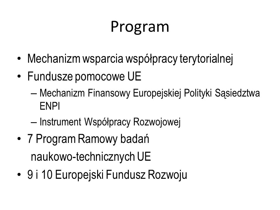 Program Mechanizm wsparcia współpracy terytorialnej