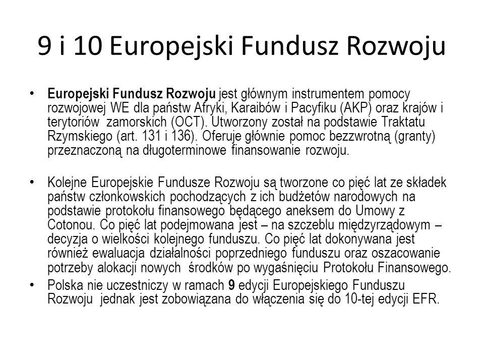 9 i 10 Europejski Fundusz Rozwoju