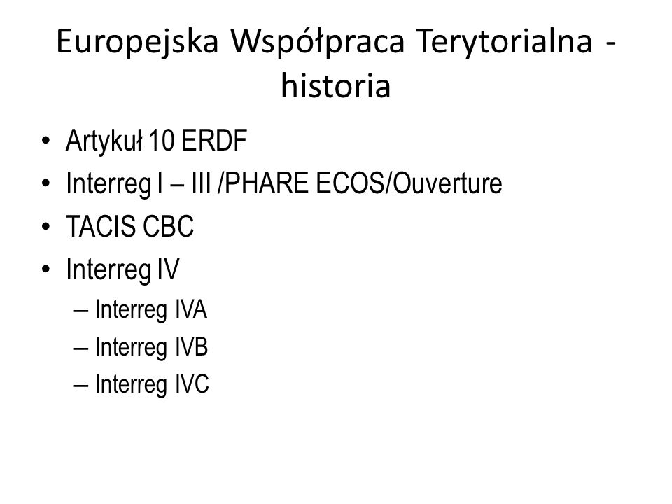 Europejska Współpraca Terytorialna - historia