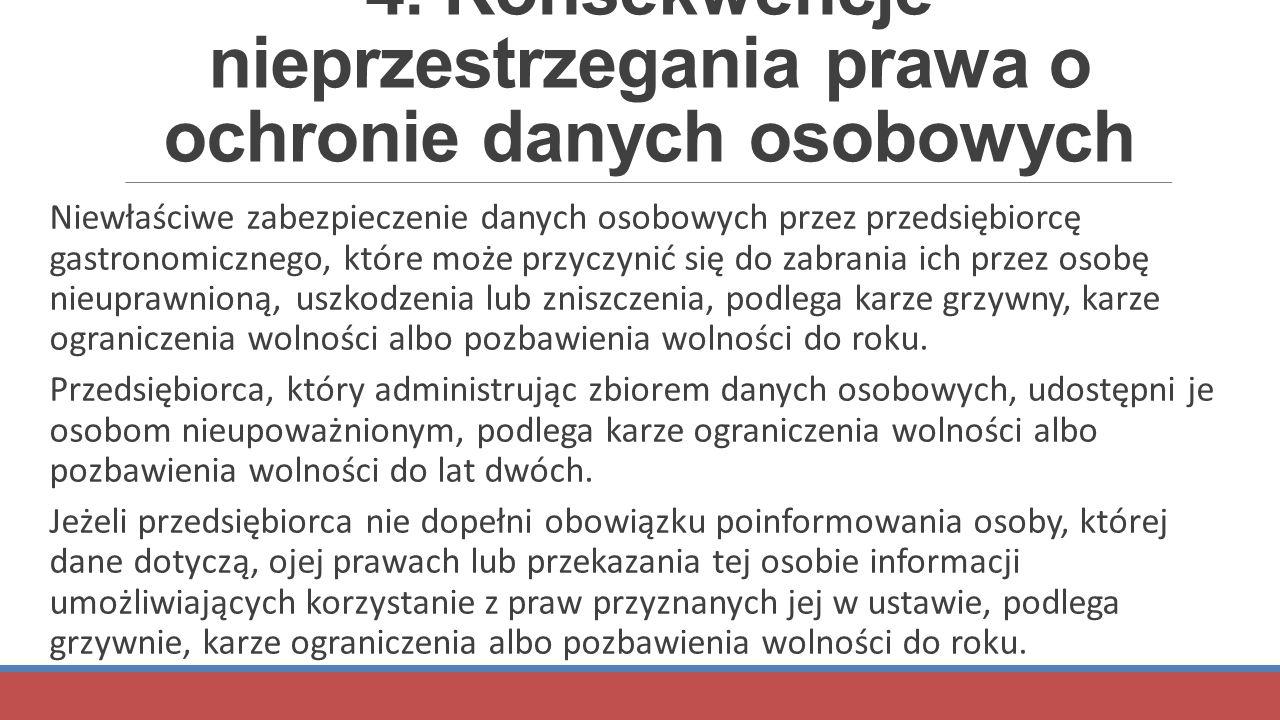 4. Konsekwencje nieprzestrzegania prawa o ochronie danych osobowych