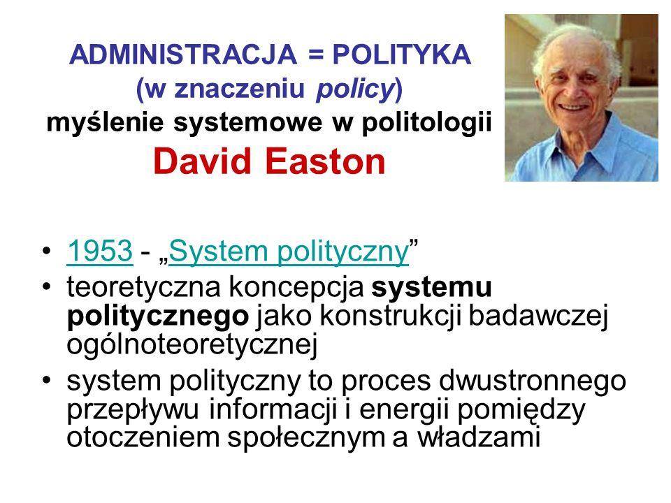 ADMINISTRACJA = POLITYKA (w znaczeniu policy) myślenie systemowe w politologii David Easton