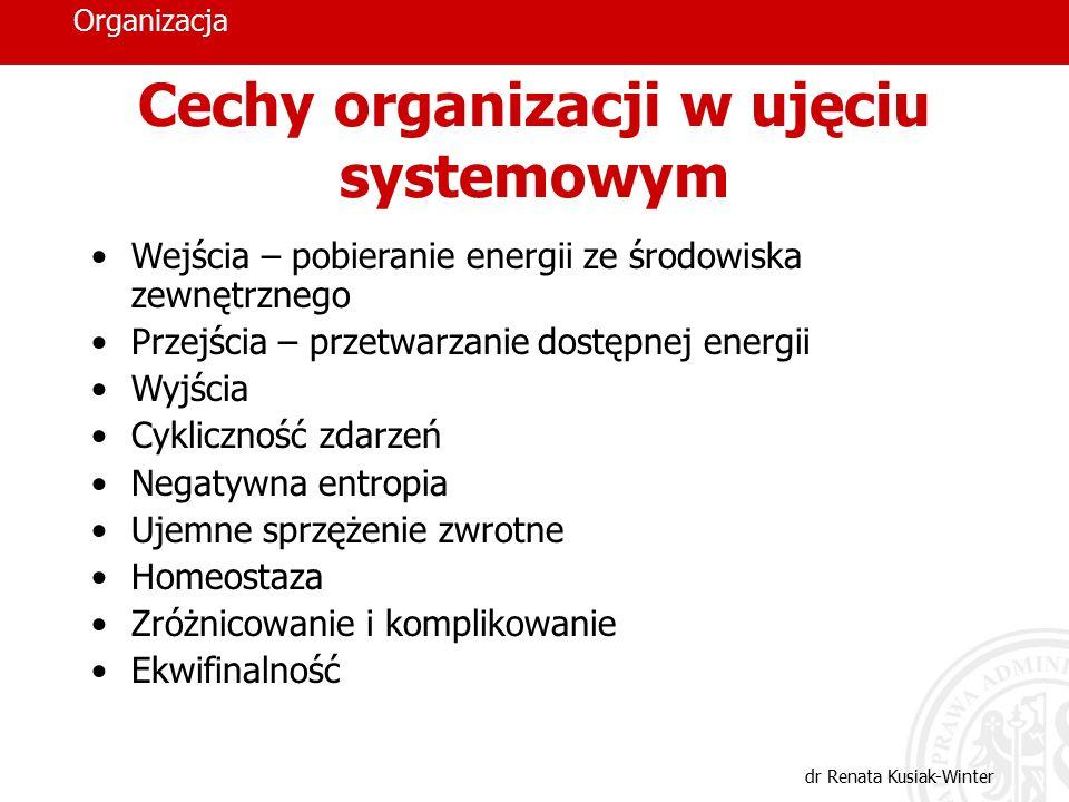 Cechy organizacji w ujęciu systemowym
