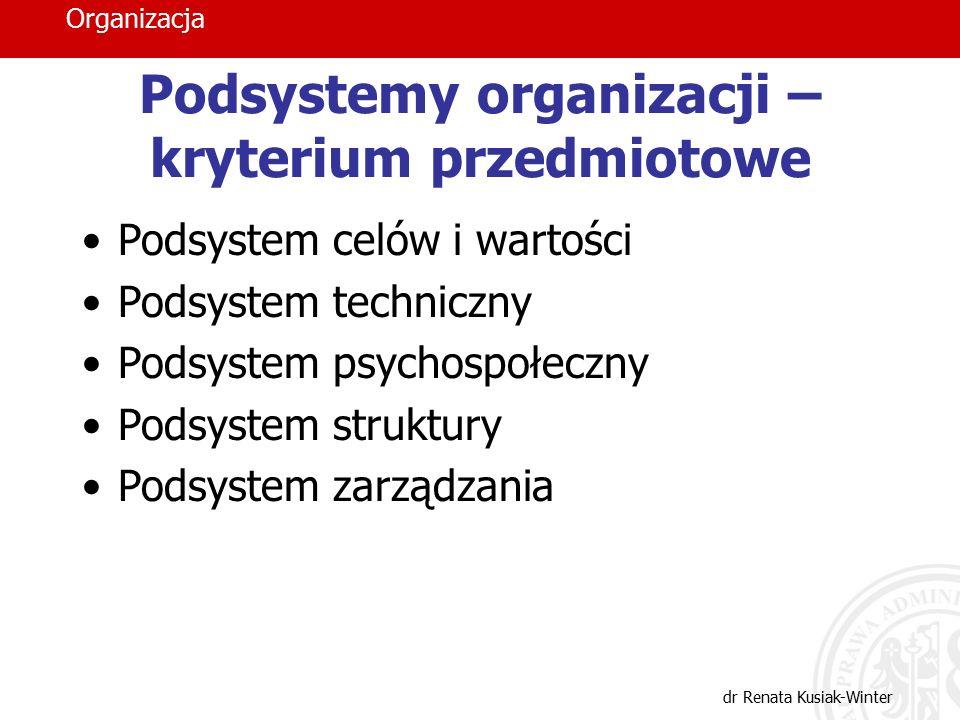 Podsystemy organizacji – kryterium przedmiotowe