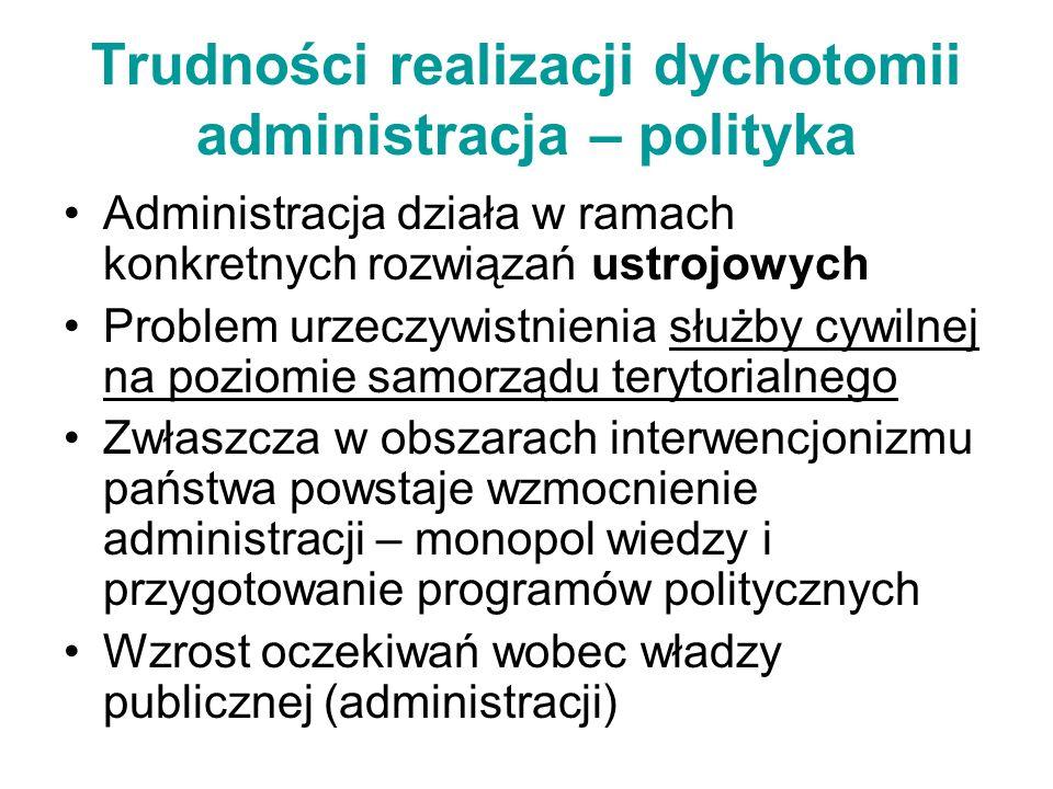 Trudności realizacji dychotomii administracja – polityka