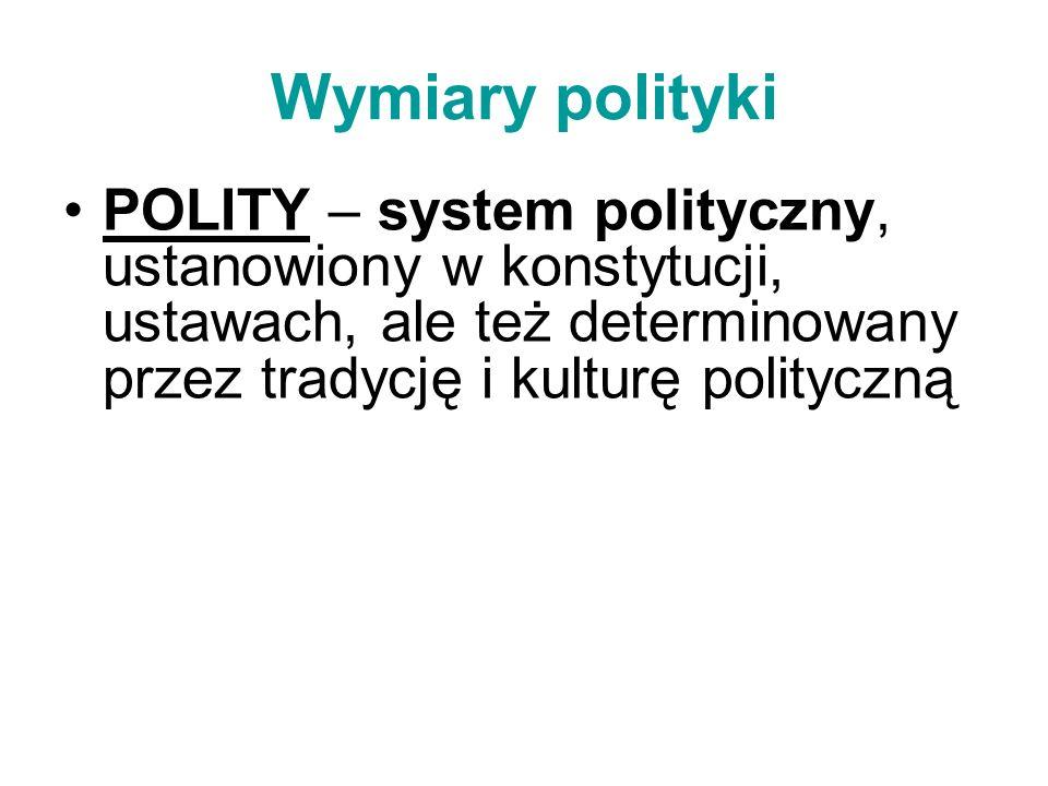 Wymiary polityki POLITY – system polityczny, ustanowiony w konstytucji, ustawach, ale też determinowany przez tradycję i kulturę polityczną.