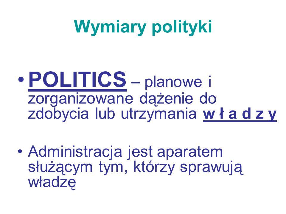 Wymiary polityki POLITICS – planowe i zorganizowane dążenie do zdobycia lub utrzymania w ł a d z y.