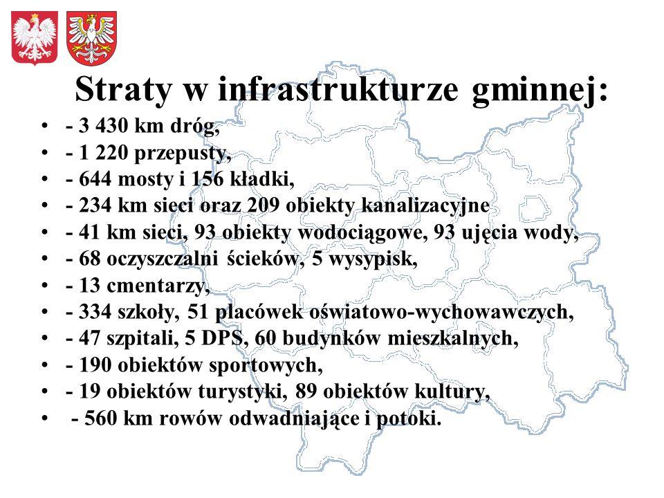 Straty w infrastrukturze gminnej: