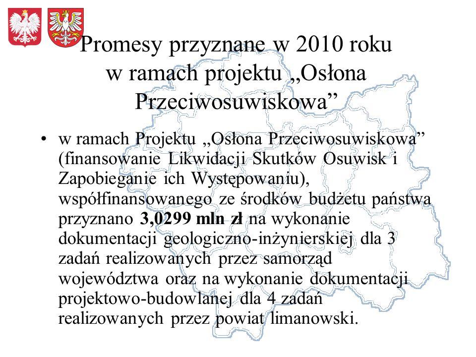"""Promesy przyznane w 2010 roku w ramach projektu """"Osłona Przeciwosuwiskowa"""