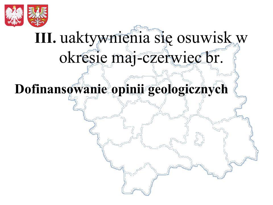III. uaktywnienia się osuwisk w okresie maj-czerwiec br.