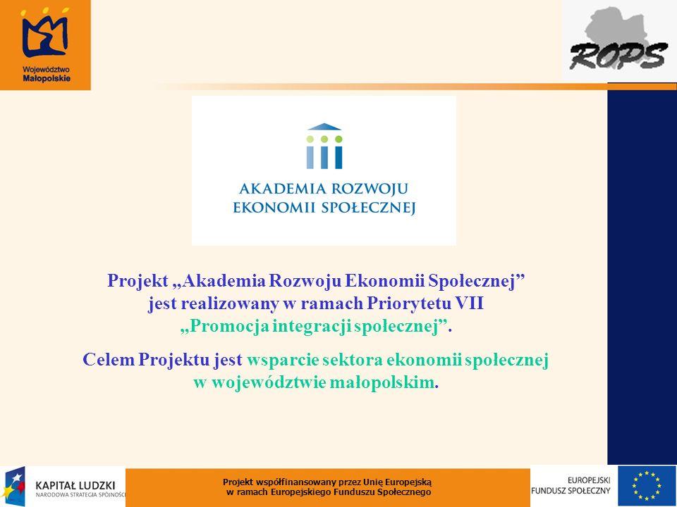 """Projekt """"Akademia Rozwoju Ekonomii Społecznej jest realizowany w ramach Priorytetu VII """"Promocja integracji społecznej ."""