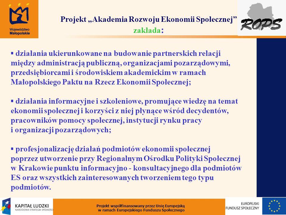 """Projekt """"Akademia Rozwoju Ekonomii Społecznej zakłada:"""