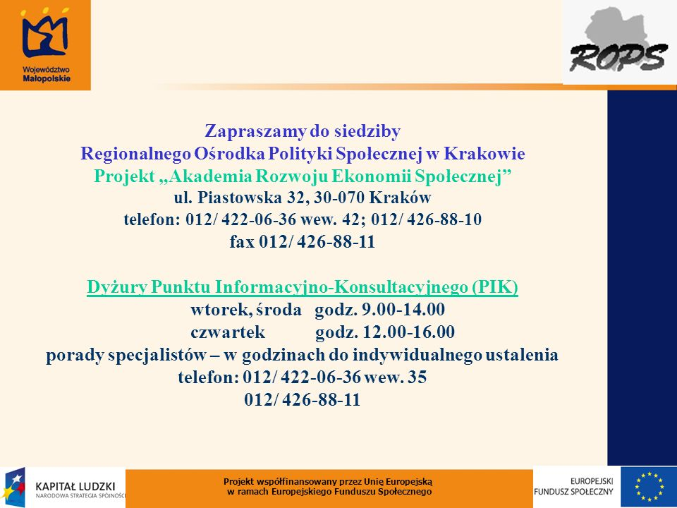 """Projekt """"Akademia Rozwoju Ekonomii Społecznej"""