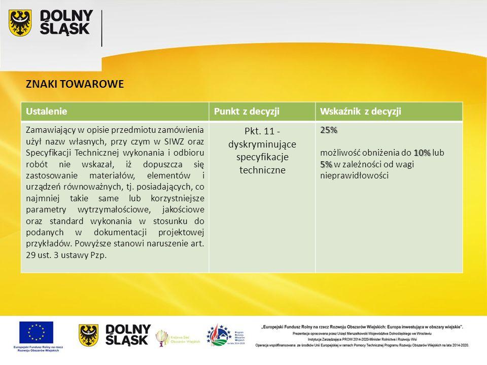Pkt. 11 - dyskryminujące specyfikacje techniczne