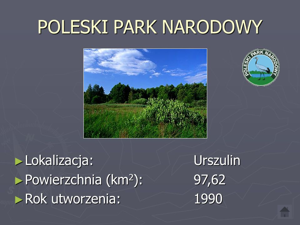 POLESKI PARK NARODOWY Lokalizacja: Urszulin Powierzchnia (km2): 97,62
