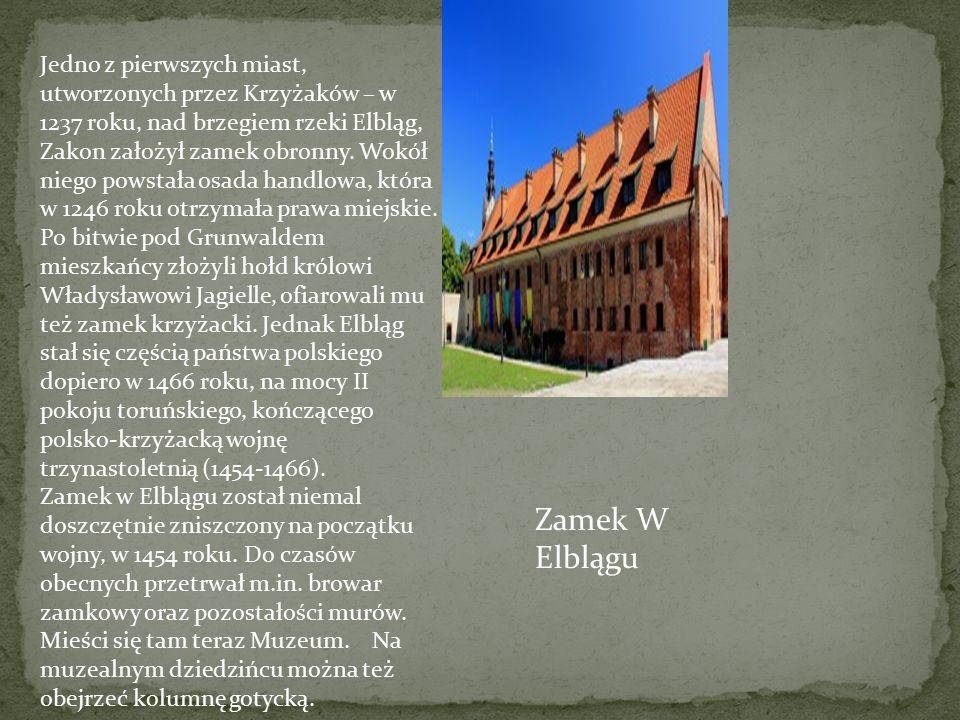 Jedno z pierwszych miast, utworzonych przez Krzyżaków – w 1237 roku, nad brzegiem rzeki Elbląg, Zakon założył zamek obronny. Wokół niego powstała osada handlowa, która w 1246 roku otrzymała prawa miejskie.