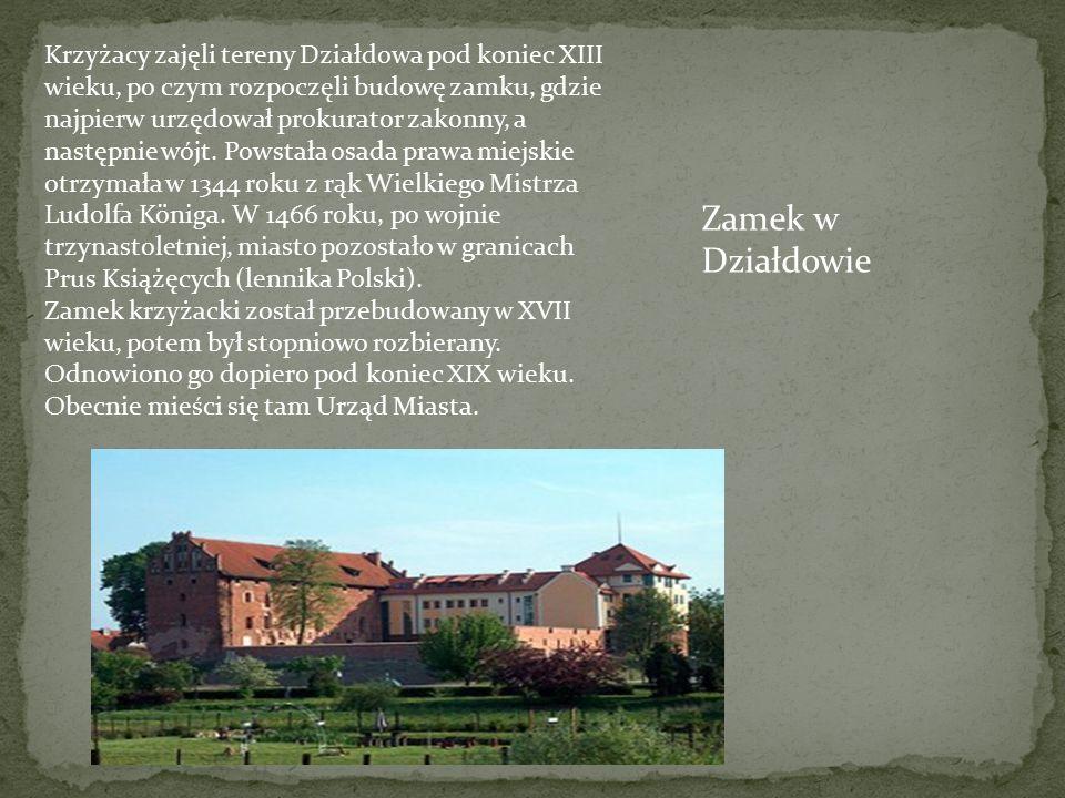 Krzyżacy zajęli tereny Działdowa pod koniec XIII wieku, po czym rozpoczęli budowę zamku, gdzie najpierw urzędował prokurator zakonny, a następnie wójt. Powstała osada prawa miejskie otrzymała w 1344 roku z rąk Wielkiego Mistrza Ludolfa Königa. W 1466 roku, po wojnie trzynastoletniej, miasto pozostało w granicach Prus Książęcych (lennika Polski).