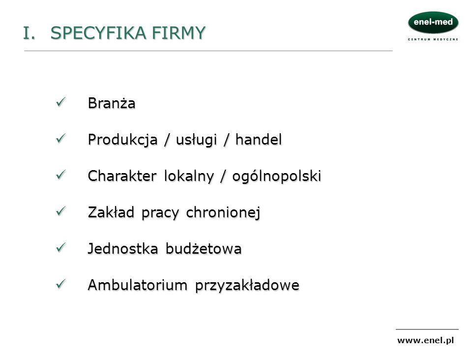 I. SPECYFIKA FIRMY Branża Produkcja / usługi / handel