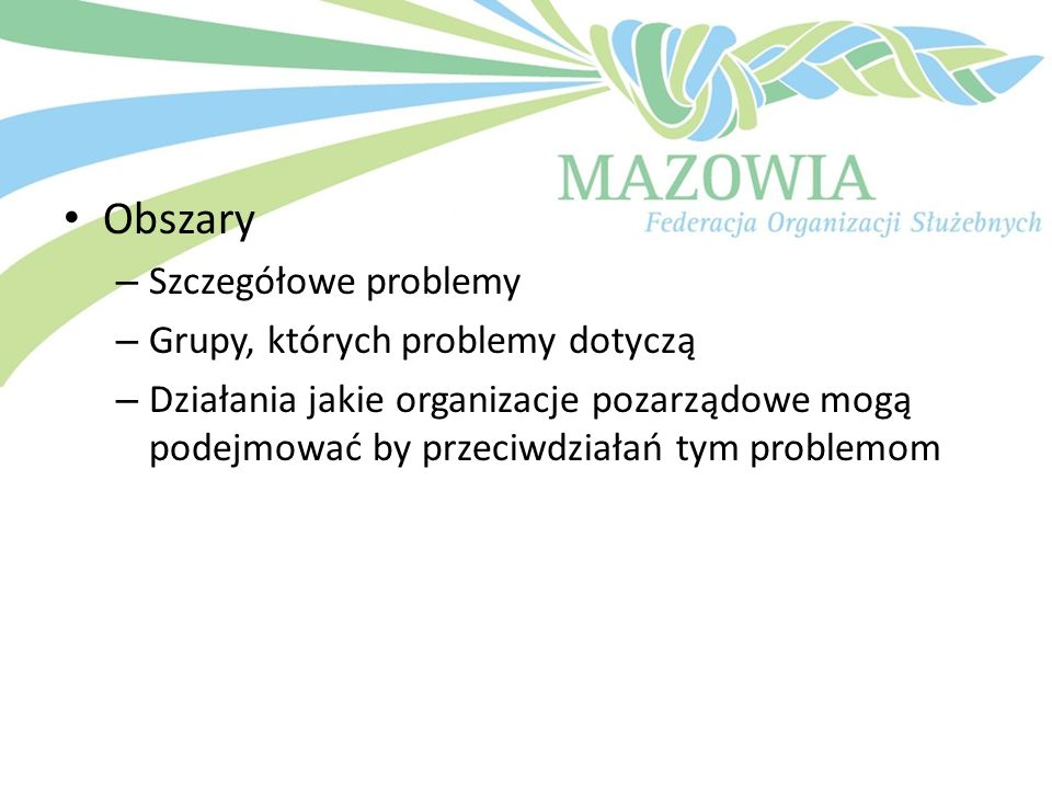 Obszary Szczegółowe problemy Grupy, których problemy dotyczą