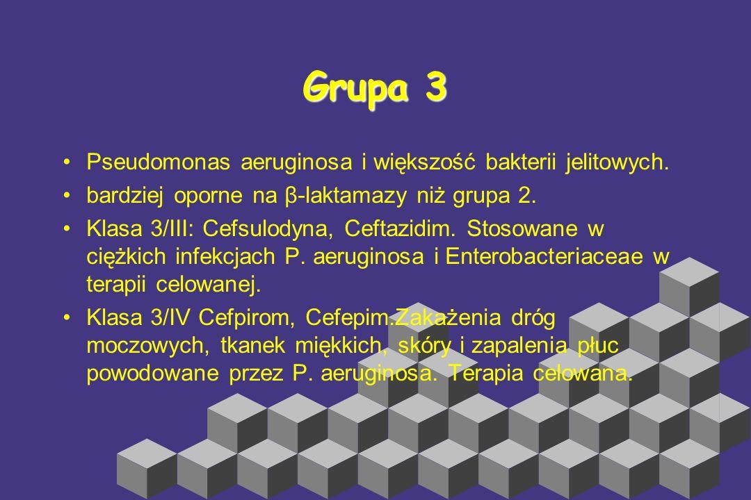 Grupa 3 Pseudomonas aeruginosa i większość bakterii jelitowych.