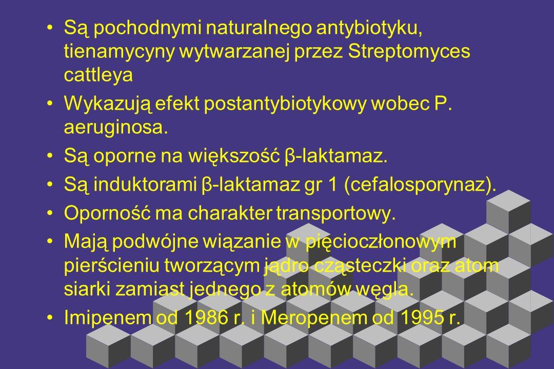 Są pochodnymi naturalnego antybiotyku, tienamycyny wytwarzanej przez Streptomyces cattleya