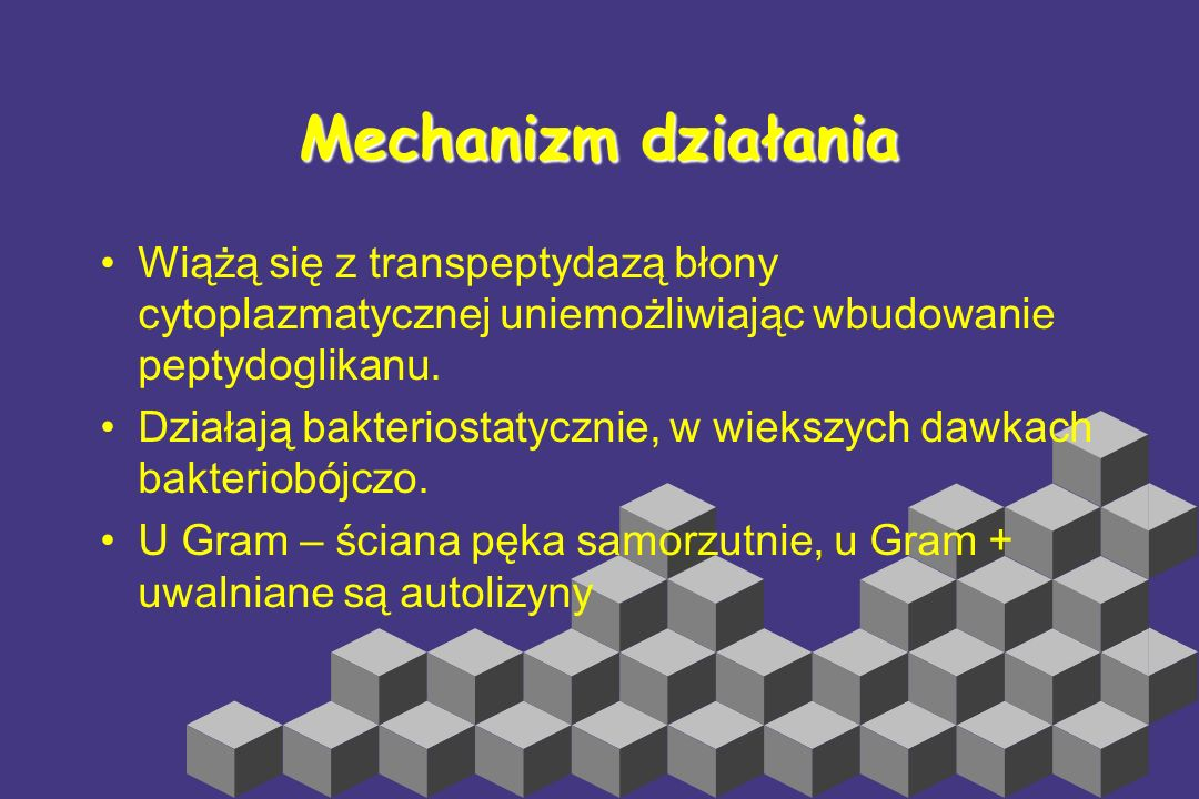 Mechanizm działania Wiążą się z transpeptydazą błony cytoplazmatycznej uniemożliwiając wbudowanie peptydoglikanu.