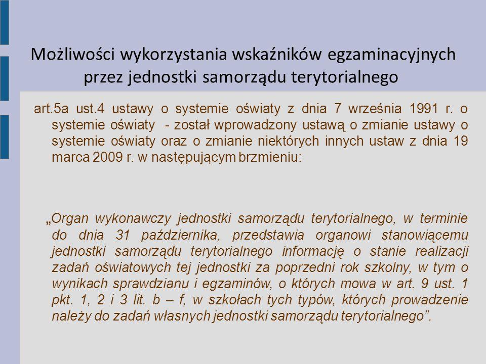 Możliwości wykorzystania wskaźników egzaminacyjnych przez jednostki samorządu terytorialnego