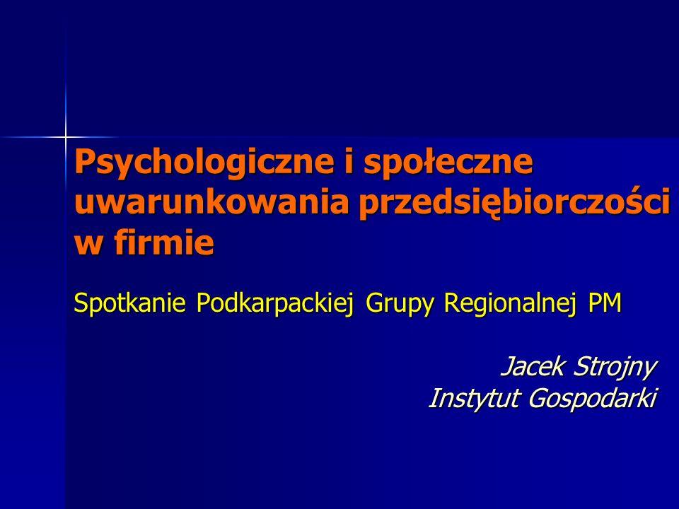 Psychologiczne i społeczne uwarunkowania przedsiębiorczości w firmie