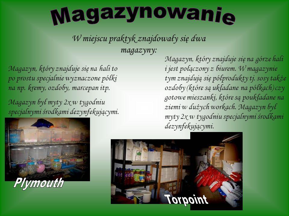 W miejscu praktyk znajdowały się dwa magazyny:
