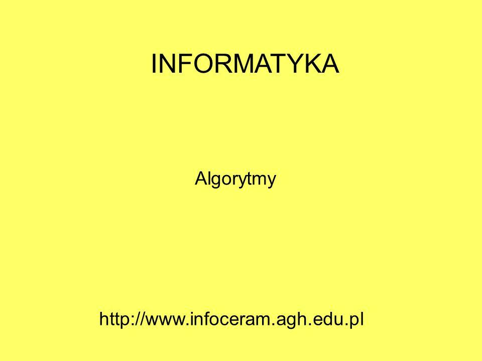 INFORMATYKA Algorytmy http://www.infoceram.agh.edu.pl